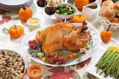 Roasted Turkey on Harvest Table Royalty Free Stock Image