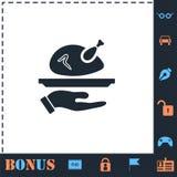 Roasted turkey icon flat royalty free illustration