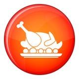 Roasted turkey icon, flat style Stock Images