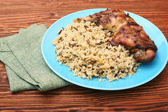 Roasted turkey leg with wild rice Stock Photo