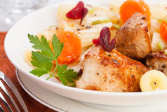 Roasted turkey meat. Chunks dish royalty free stock photography