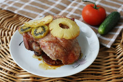 Roasted turkey meat with pineapple and kiwi Royalty Free Stock Image