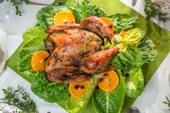 Roasted turkey with orange fruits for thanksgiving. Roasted turkey with orange fruits an lettuce for thanksgiving stock photos