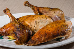 Roasted turkey on a platter Stock Images