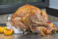Roasted turkey at a restaurant buffet carvery Stock Photo