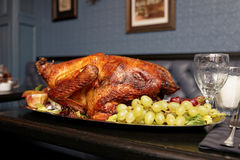 Roasted turkey on restaurant table Stock Photo