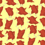 Roasted turkey seamless pattern. fowl in different poses ornamen Royalty Free Stock Photo