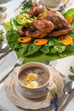 Roasted turkey served with barley sour soup Royalty Free Stock Images