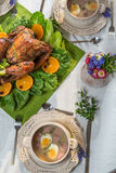 Roasted turkey served with sour soup on spring dinner Royalty Free Stock Image