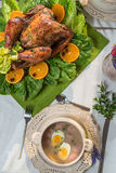 Roasted turkey served with sour soup on spring dinner Stock Images