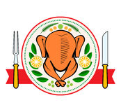 Roasted turkey symbol  vector illustration. Roasted turkey symbol or emblem top view with fork and knife. Turkey  vector illustration Royalty Free Stock Photos