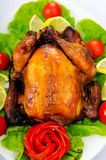Roasted turkey on the  table Stock Photo