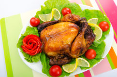 Roasted turkey on the  table Royalty Free Stock Photos