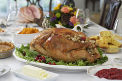 Roasted Turkey On Table Set Stock Image