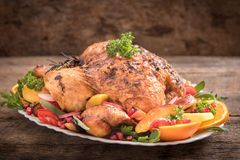Roasted turkey and vegetables Royalty Free Stock Photography