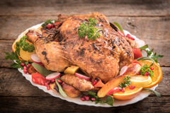 Roasted turkey and vegetables Stock Images