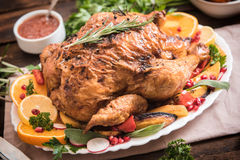 Roasted turkey and vegetables Royalty Free Stock Photo