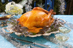 Roasted Turkey for White Christmas Stock Photo