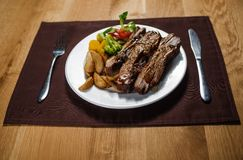 Roasted veal with potato Royalty Free Stock Photography