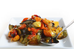 Roasted veg and spoon Stock Images