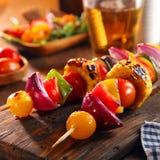 Roasted vegan vegetable skewers Royalty Free Stock Photo
