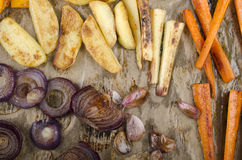 Roasted vegetable on kitchen paper Royalty Free Stock Image