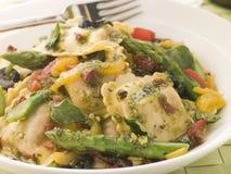 Roasted Vegetable Ravioli with Pesto Dressing Royalty Free Stock Photo