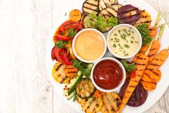 Roasted vegetable and sauce Royalty Free Stock Image