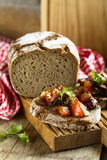 Roasted vegetables bruschetta on a rye bread Royalty Free Stock Image