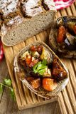 Roasted vegetables bruschetta on a rye bread Royalty Free Stock Photo