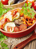 Roasted vegetables in a ceramic pot Stock Photography