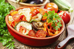 Roasted vegetables in a ceramic pot Stock Photos