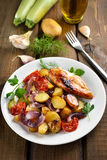 Roasted vegetables and chicken breast Royalty Free Stock Photo