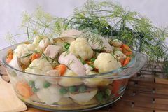 Roasted vegetables with chicken and dill Royalty Free Stock Photography