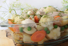 Roasted vegetables with chicken and dill Royalty Free Stock Images