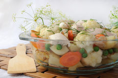 Roasted vegetables with chicken and dill Royalty Free Stock Photos