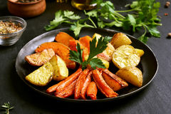 Roasted vegetables in frying pan Royalty Free Stock Photo