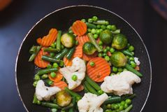 Roasted vegetables in a frying pan, a vegetable stew on top, Stock Photography