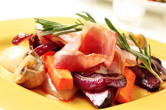 Roasted vegetables and ham Stock Photo