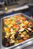 Roasted vegetables in the hot pan Stock Photography