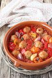 Roasted vegetables with meatballs Stock Photography