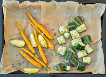 Roasted vegetables in a metallic baking dish Royalty Free Stock Photo