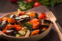 Roasted vegetables on serving pan closeup Royalty Free Stock Images