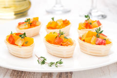 Roasted vegetables with thyme in tartlets Royalty Free Stock Photography