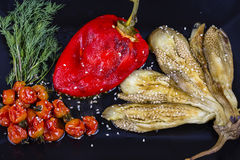 Roasted vegetables with tomato salsa Stock Image