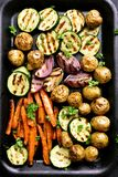 Roasted vegetables, top view Stock Images