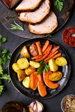 Roasted vegetables, top view Stock Photography