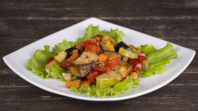 Roasted vegetables on a white plate Royalty Free Stock Photography