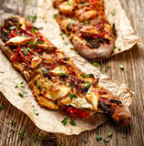 Roasted Vegetarian sandwich with  Ciabatta bread topped with grilled vegetables, smoked sheep cheese and fresh thyme Stock Photography