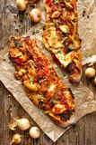 Roasted Vegetarian sandwich with  Ciabatta bread topped with grilled vegetables, smoked sheep cheese and fresh thyme Royalty Free Stock Image